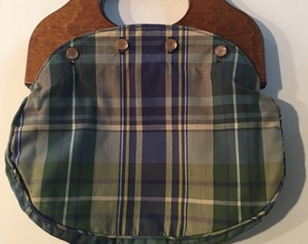 Bermuda Bag with Wooden Handles Plaid/Blue Reversible Cover and Pearl Buttons