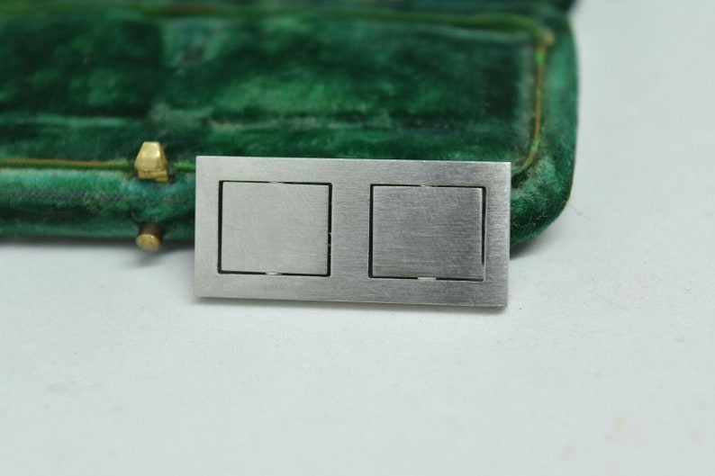 Rare Vintage Arm Revolution Cufflinks With An Unusual Brushed Steel Design #r12
