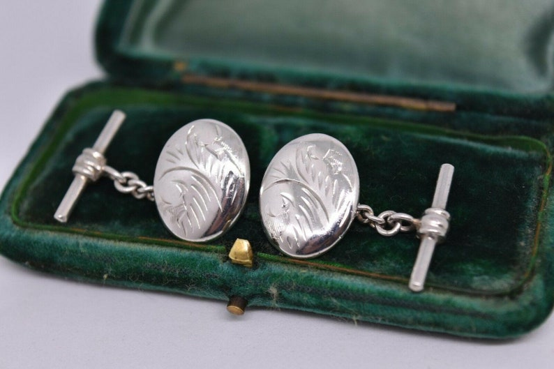 Vintage Sterling Silver Cufflinks With An Art Deco Style #b523
