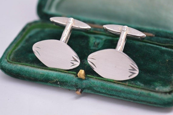 Vintage Sterling Silver Cufflinks With An Art Deco
