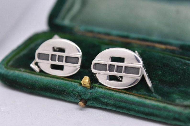 Vintage Art Deco Sterling Silver Cufflinks By Rennie Mackintosh #b881