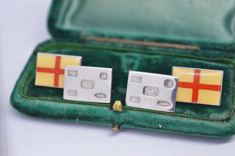 Vintage Sterling Silver Cufflinks With A England Flag Hallmarked Style #b445
