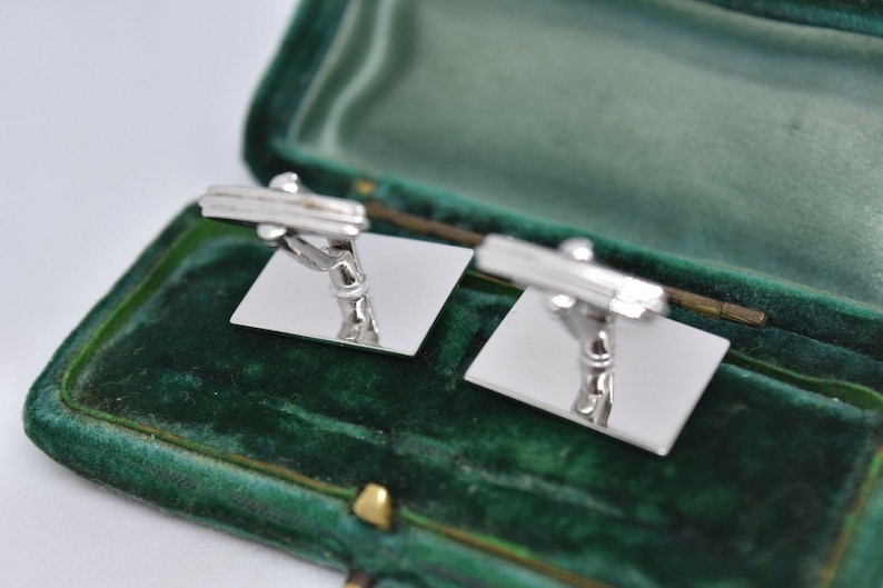 Vintage Sterling Silver Cufflinks With An Art Deco Design #g195