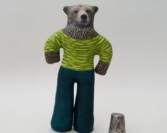 Unique handmade bear art doll