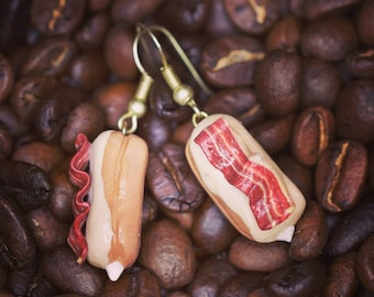 Bacon Earrings - Bacon Jewelry - Bacon Donuts - Foodie Gift - Bacon Gifts - Donut Gifts - Maple Bacon - Maple Donut - Bacon Lover - Foodie