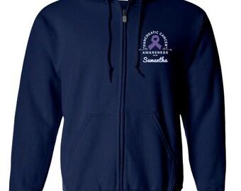 Pancreatic Cancer Awareness Zip Up HoodieZip Up Sweatshirt Pancreatic Cancer Awareness Personalization Sweatshirt PRN-306