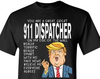 76ef39d775 911 Dispatcher Crewneck Pullover Sweatshirt, TShirts, Scoop Neck Tee Shirts  - SP-0034-CSC-Funny Trump