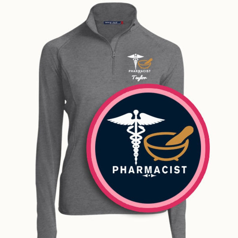 PRN-077 Pharmacist Gift  Pharmacist Quarter Zip Sweatshirt  Embroidered Pullover  Personalized Gifts