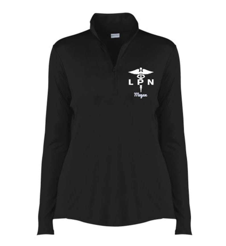 Licensed Practical Nurse Gift Quarter Zip Pullover Embroidered Pullover  LPN Caduceus  Personalized Gifts PRN-022A