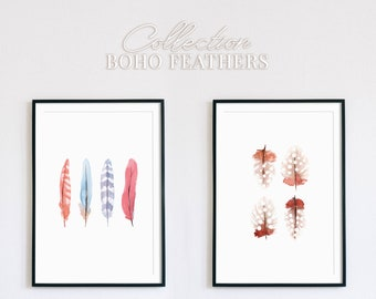 Collection of Boho Watercolor Feathers wall art, Modern watercolor home decor