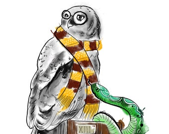 Harry Potter owl watercolour style a4 print