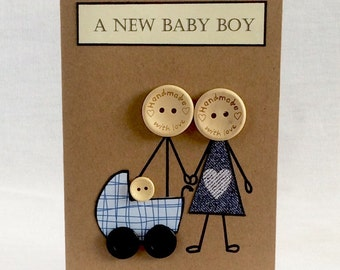 Handmade New Baby Boy card