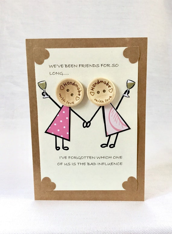 Hello blank friendship handmade black and white Thinking of you greeting card world ribbon modern night and day, buttons