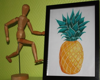 Poster is unique and original - pineapple full of PEP! -Wall decolration