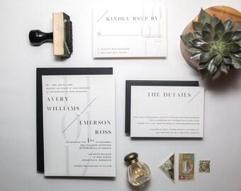 Oxford Suite/ Modern Wedding Invitation/ Minimal & Typography Focused Modern Invite
