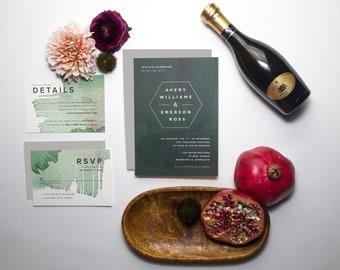 Pemberton Suite/ Modern Wedding Invitation/ Abstract Emerald Green Winter Wash