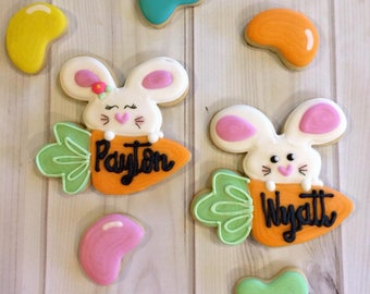 Bunny/Jelly Beans Easter/Spring Decorated Sugar Cookies