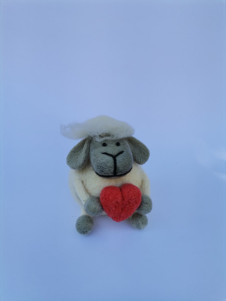 Needle felted sheep with long hair holding big red heart lover gift idea, I LOVE EWE Mother/'s day gift shelf life desktop decoration