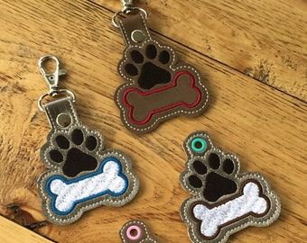 DIY- DIGITAL File - Paw with Bone filled or Bone outline - Snap tab / Key fob / Bag tag  ITH Machine Embroidery Design File In the hoop