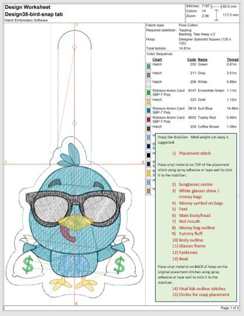 DIGITAL File - Bird with Money Bags Filled design Snap tab / Key fob ITH  Machine Embroidery Design File