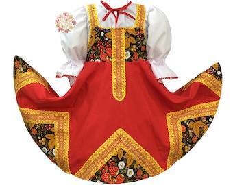 Russian dress Khokhloma dance costume Russian clothing Slavic dress sarafan Russian costume traditional dress folk dance dress Russia outfit