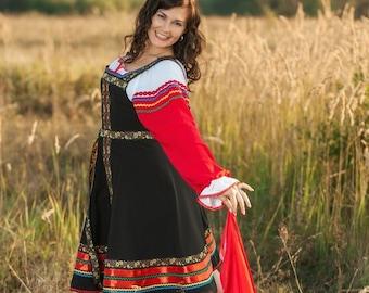 e4b6cfdb855c Russian black dress woman sarafan dance costume Russian clothing Slavic traditional  folk dress flower wreath character dance wear women