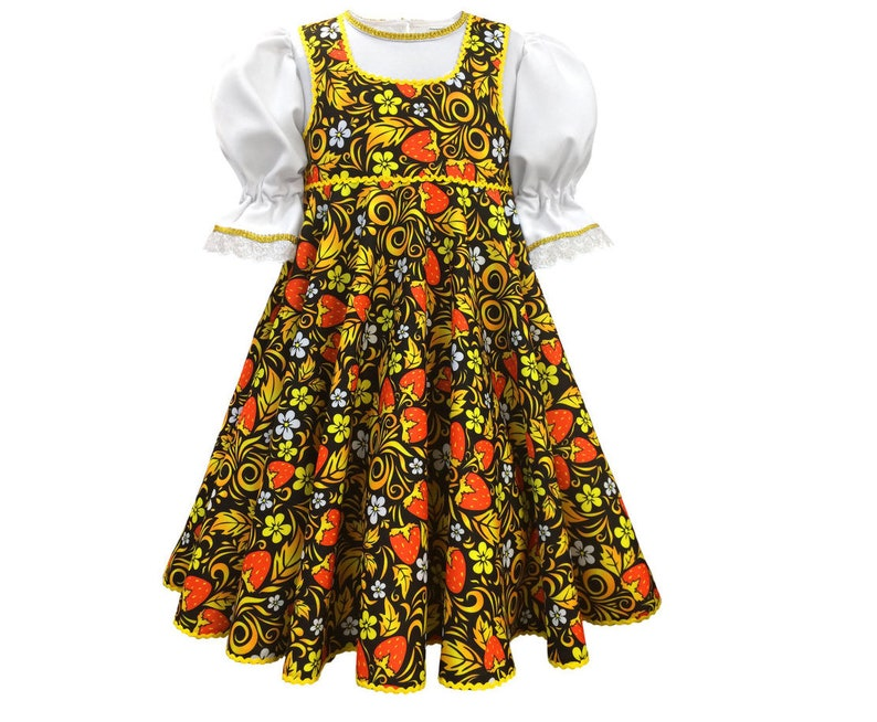 014bfc71a Russian dress Khokhloma dance costume girls Russian clothing | Etsy