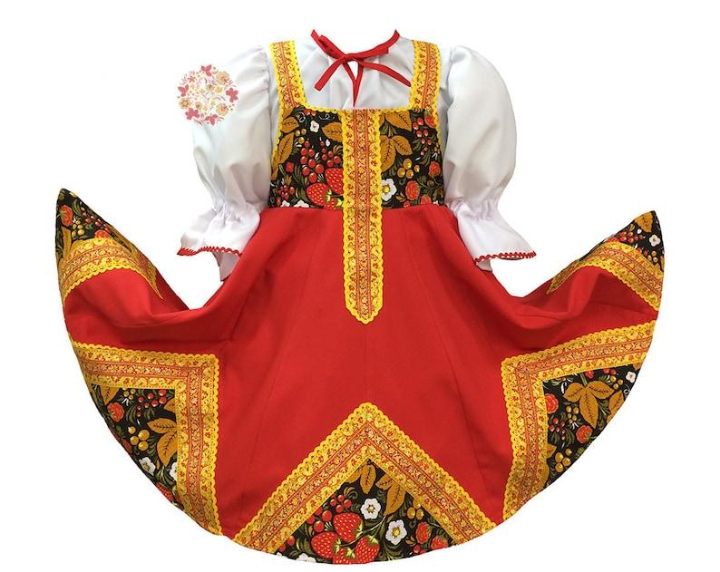 0de7b7038 Russian dress Khokhloma girls dance costume Russian clothing | Etsy