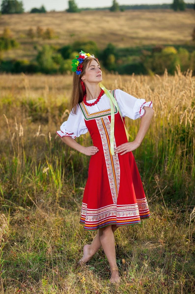 c5bca6535 Russian red dress woman sarafan dance costume Russian clothing | Etsy