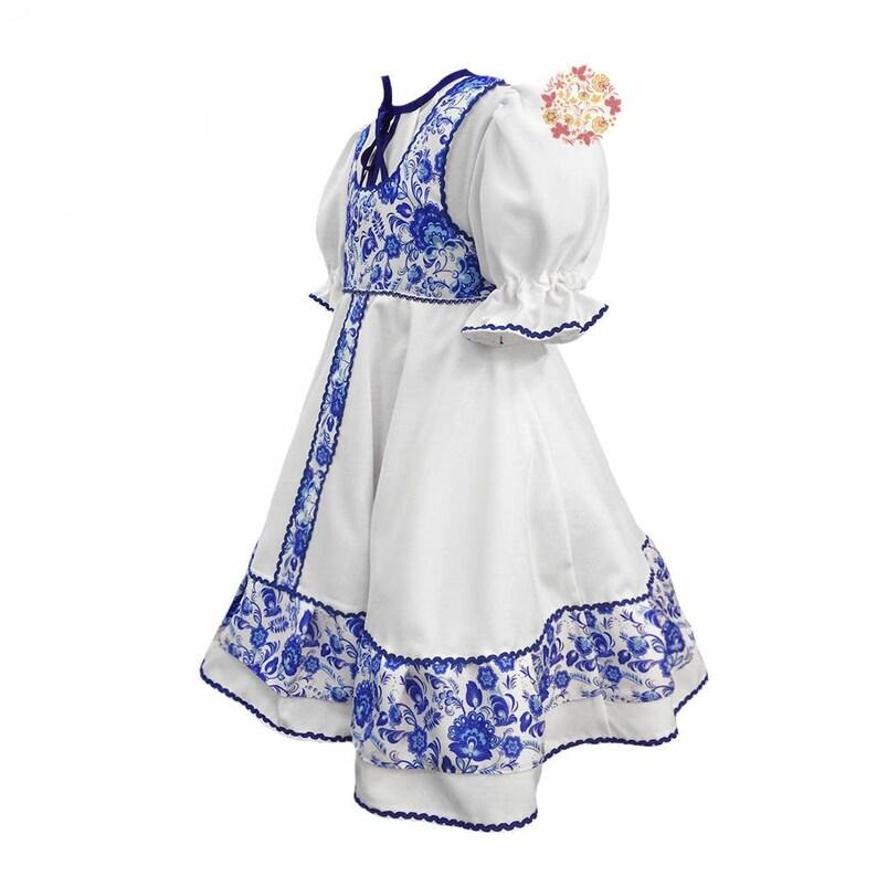 d3c0b9ee3 Russian dress girl sarafan Gzhel dance costume Russian | Etsy
