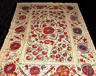 Vintage Old Embroidered Uzbek Tribal Hand 55 X 85 Inch Suzani Textile Blue Linens & Textiles (pre-1930)