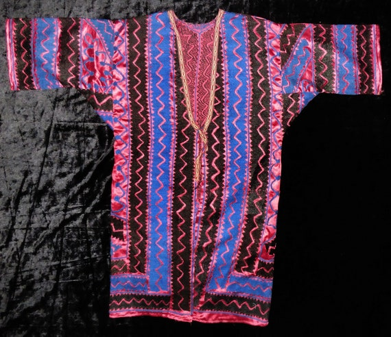 Ouzbek vintage soie brodé shapan Robe shapan brodé veste #217 7a709c