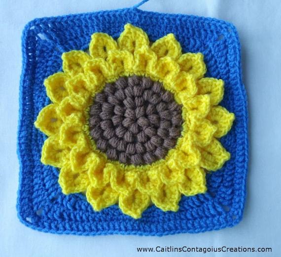 Crocodile Stitch Sunflower Square Easy And Fun Pdf Crochet Etsy