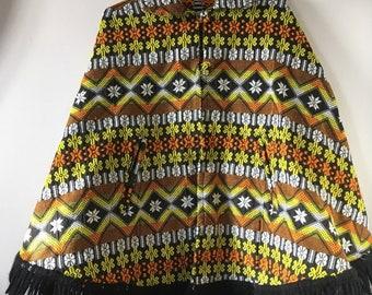 90e8c36c2d ... huge discount e50ce e75b5 Vintage Tapestry welsh blanket style Wool  Orange Geo Cape Coat Mod Guatemala ...