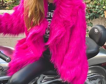 Acid pink faux coat