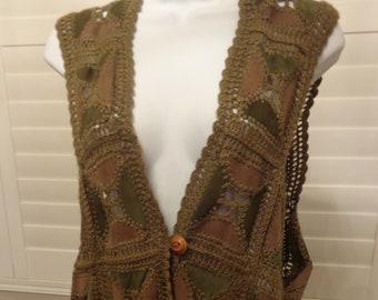 Vintage Hand made Crochet/Leather Women's Vest! Amazing!