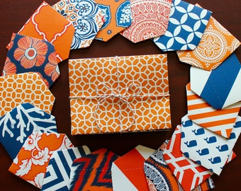 Patterned Stationery Set / Pattern A2 Envelopes / Mini Envelopes / Blank Note Cards / Assorted / Orange and Navy / Stationary / Nautical