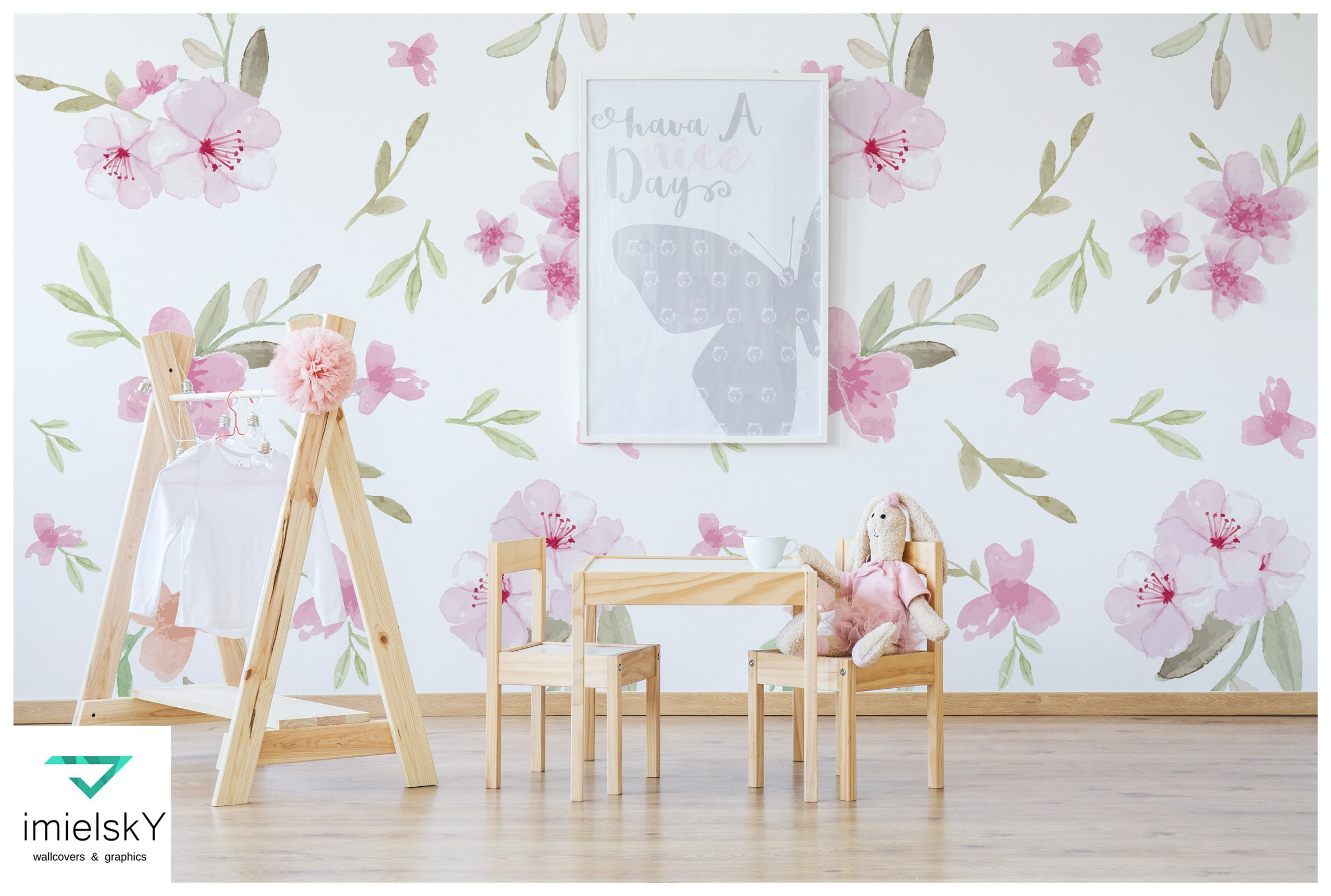 Floral Wallpaper Nursery Watercolor Flowers Baby Room Decor Etsy