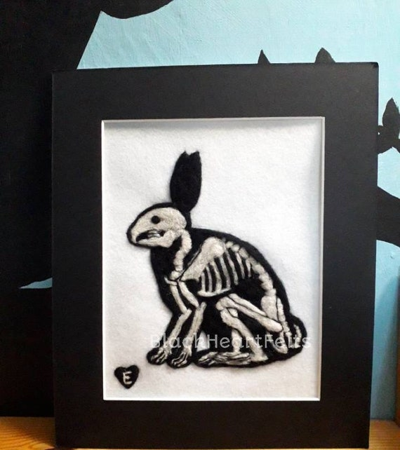Needle Felted Rabbit Skeleton Picture Etsy