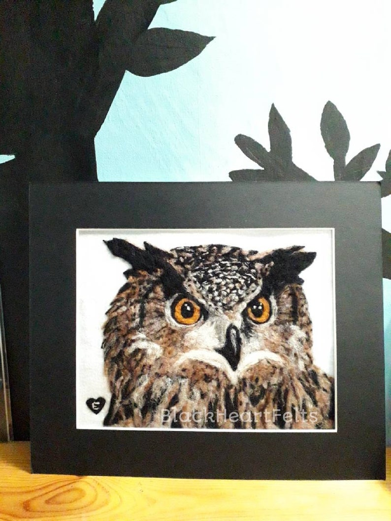 Needle felted eagle owl picture in mount frame image 0