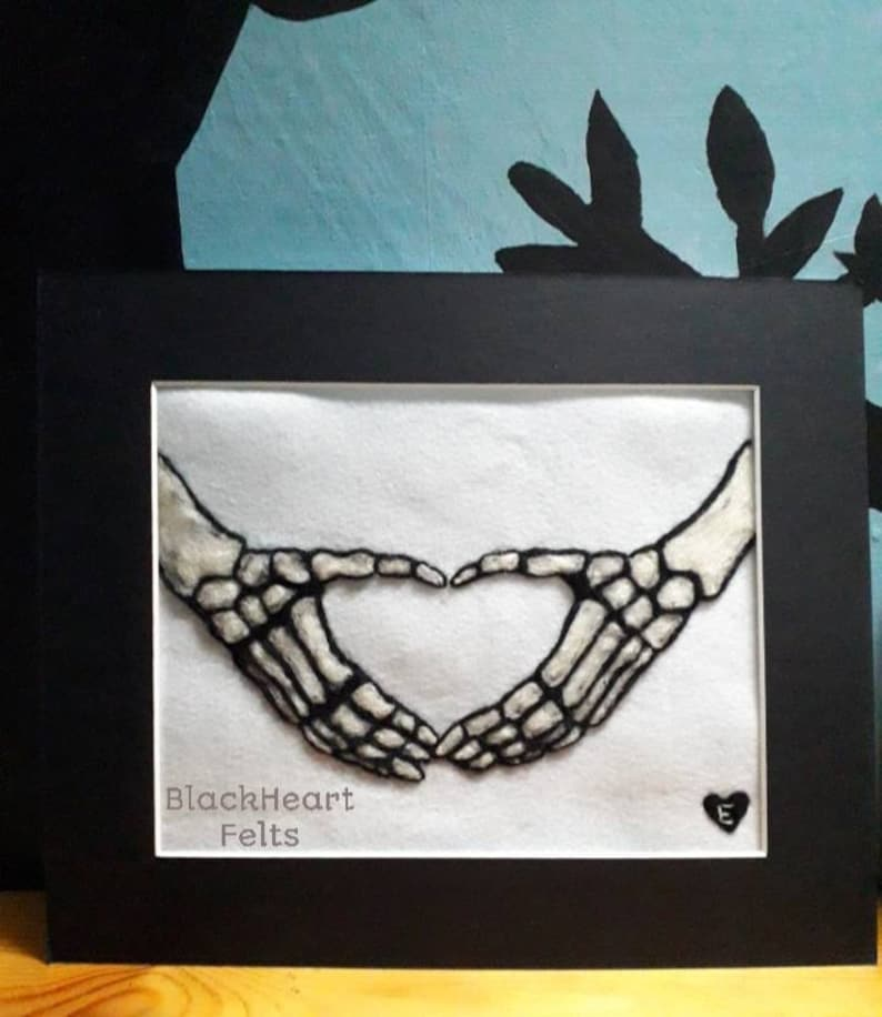 Needle felted skeleton love hands picture in mount frame image 0