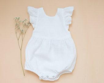Toddler Linen Bubble Romper in Harvest Gender Neutral BoyGirl Playsuit Baby