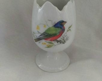 Limoges France Vintage Footed Egg Cup Scalloped Edge Bird