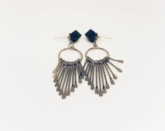 Black crystal cube earrings with sticks drop
