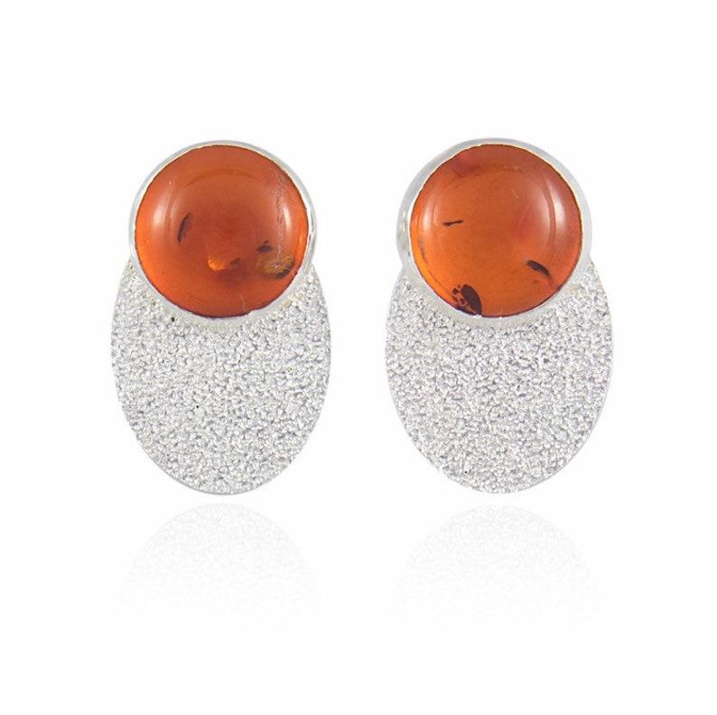 Pikaya Handmade Positano Earrings set with Natural Amber