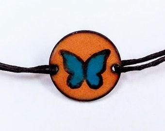 Black and Blue Morpho Butterfly Bracelet