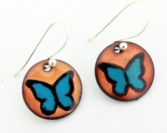 Black and Blue Morpho Butterfly Earrings