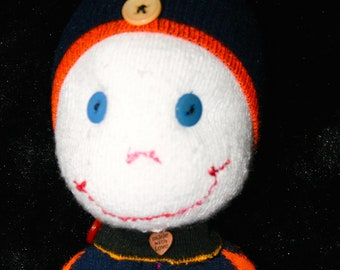 Sock Doll with Smiling Face, and Button Eyes