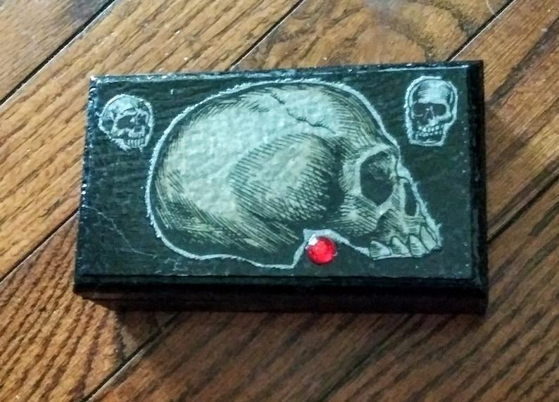 Vintage Inspired Happy Smile Gothic Skull Engagement Wood Box