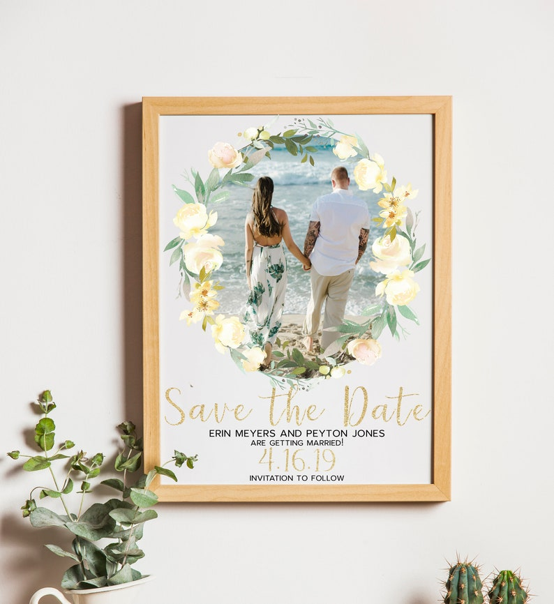 printable save the date printable wedding invite set White and gold save the date template invitation suite